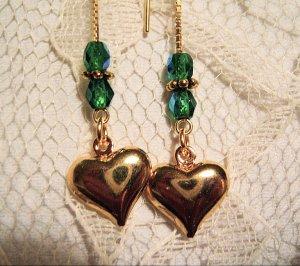 Puffed Heart Charm Threader Earrings 14k Vermeil
