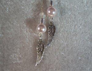 Angel Wing Charm Threader Earrings Sterling Silver