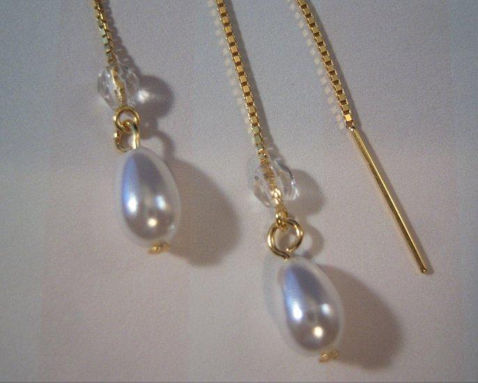 Pearl Drop Threader Earrings 14k Vermeil