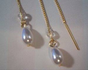 Pearl Drop Threader Earrings 14k Vermeil