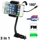 Universal FM Transmitter + Car Charger + Hands Free Kit for iPhone 5 / iPod 5