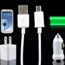 3 IN 1 TRAVEL charger KIT with MICRO USB CABLE FOR SAMSUNG HTC NOKIA LG Sony Motorola