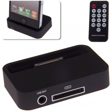 Charging Dock Station with 3.5mm Line Out + Remote Controller for iPhone 4/4S