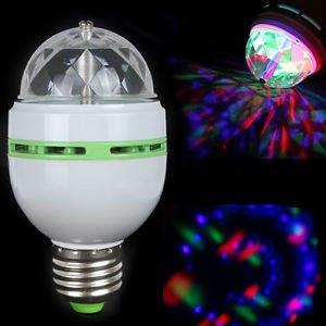3W E27 Crystal Magic Ball Rotating Disco DJ RGB LED Stage Lighting Bulb