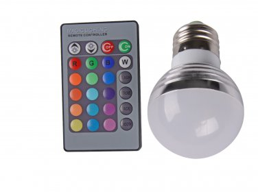 RGB 3W E27 16 Colors LED Light Bulb Lamp Spotlight + IR Remote Control