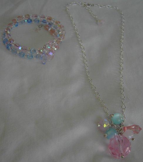 Pinky Blue Bracelet and Necklace Set
