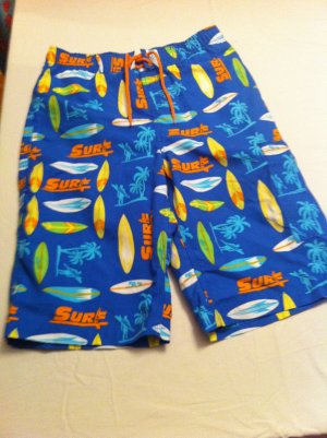 J.Khaki swim trunks, Bl/Orng/Yllw Surf Board/Palm Tree Design, Cargo Pocket Size L, New With Tags