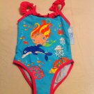 Girls Blue Caribbean Size 5 1Pc. Blue/Pink Mermaid and Dolphin