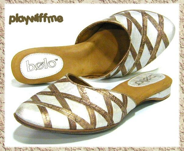 Bolo White & Bronze Mules Shoes - Size 6 Medium
