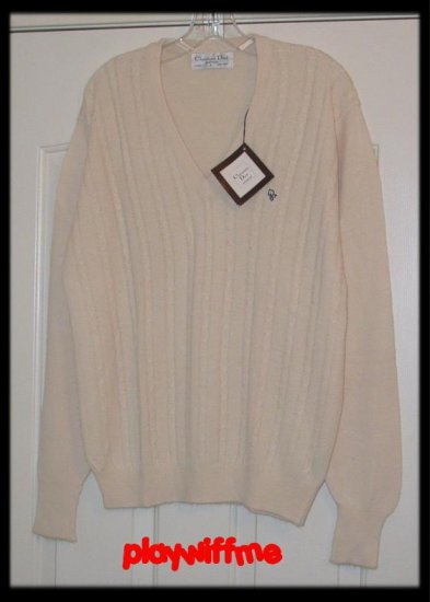 Vintage Christian Dior Cable Knit Sweater- Medium/Large