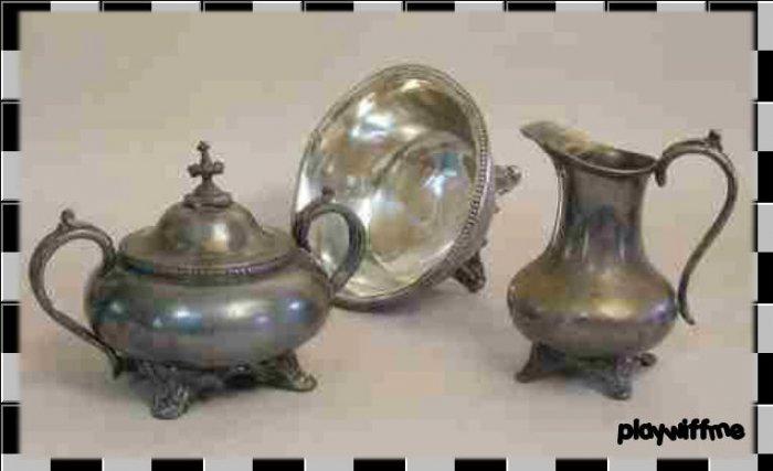 Antique Silver Plate Creamer, Sugar, Serving Bowl Set