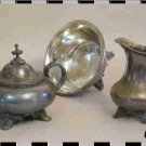 Antique Silver Plate Creamer, Sugar, Serving Bowl Set