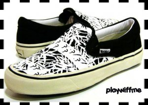Evisu Black & White Canvas Shoes - New - Size 10