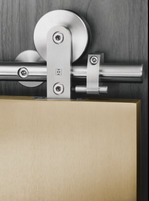 "Brushed Stainless Steel Sliding Door Hardware For Wood Door with Free Shipping( 98.4"" track)"
