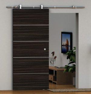 Brushed Stainless Steel Barn Wood Door Hardware With Free Shipping