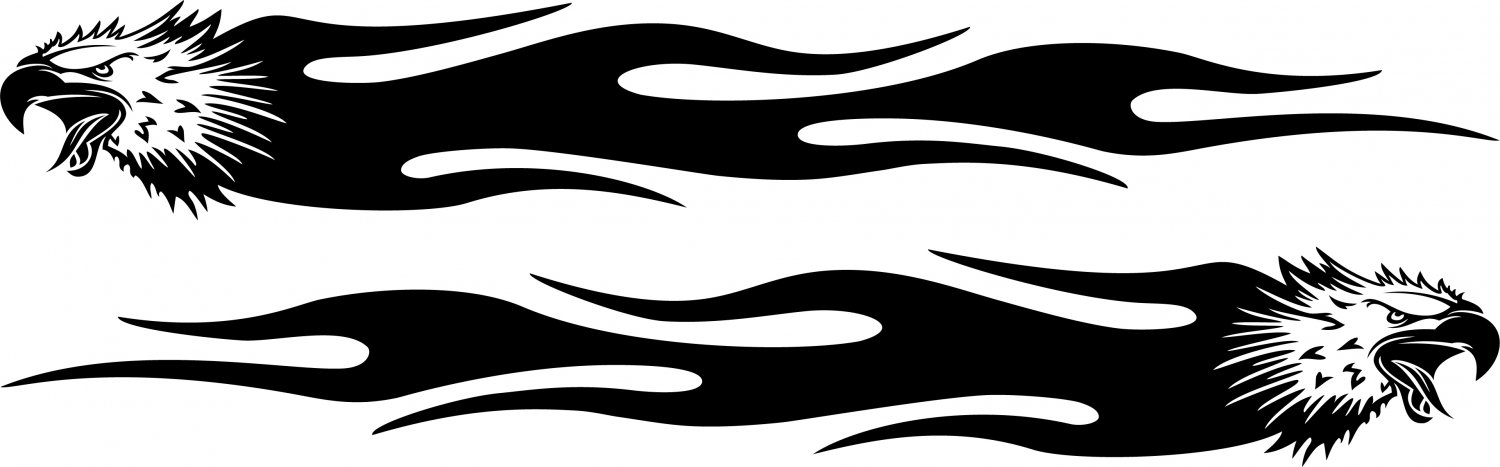 Eagle Flames Custom Car Vinyl Sticker Decal 002 - 2 Pieces ( Left and Right )