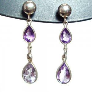 Amethyst two stone post dangle earrings