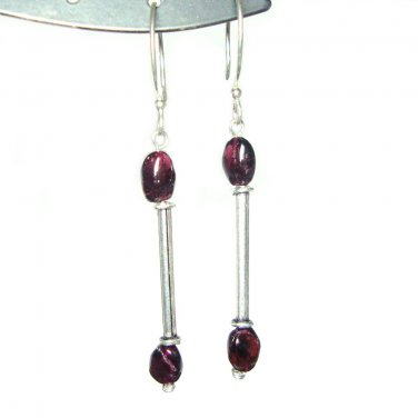 Garnet and silver french hook earrings