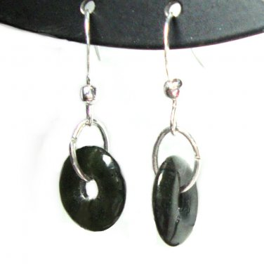 Jade french hook dangle earrings