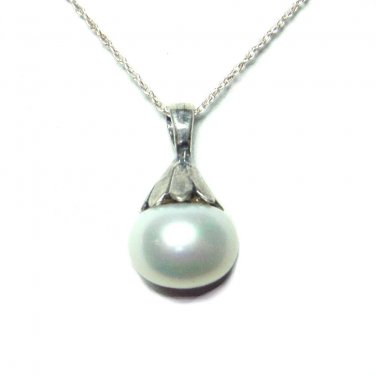 10mm cultured pearl pendant with chain