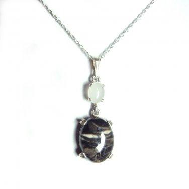 Zebra Jasper and quartz pendant with cord