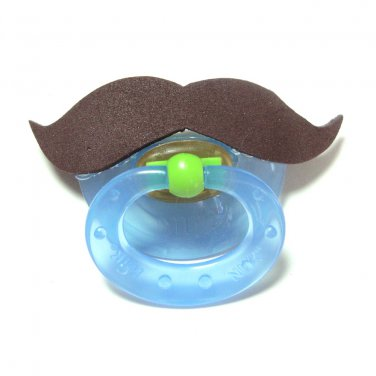 Brown mustache pacifier 6 to 18 months #402