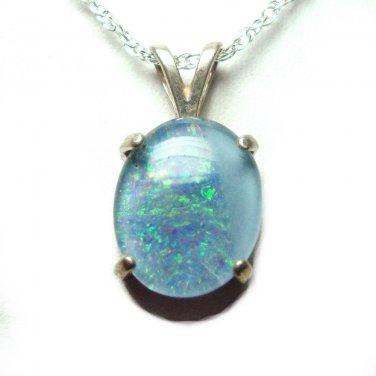 12x10mm Opal triplet pendant with chain
