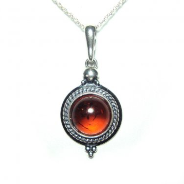 10mm round Baltic amber pendant with chain