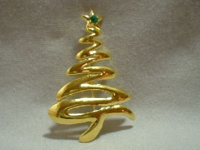 Goldtone Christmas Tree Pin/Broach - (click photo for additional pics)