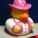Cowgirl Rubber Ducky with Chartreuse Vest