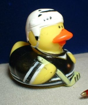 Hockey Rubber Ducky with Black Outfit