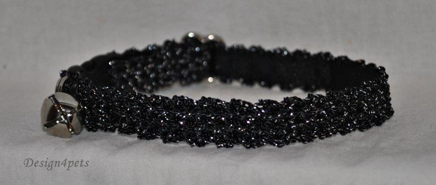 Melody - black silverglitter cat collar - unique handmade design