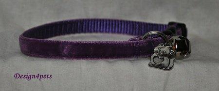 Dakota - Unique handmade breakaway adjustable- purple velvet cat collar