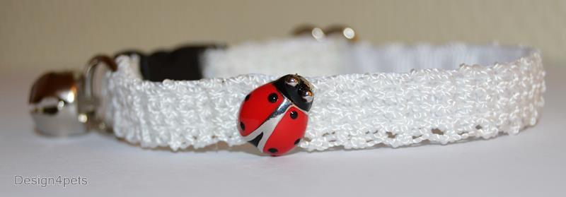 Ladybug - unique handmade white breakaway adjustable soft Cat collar w/ ladybug