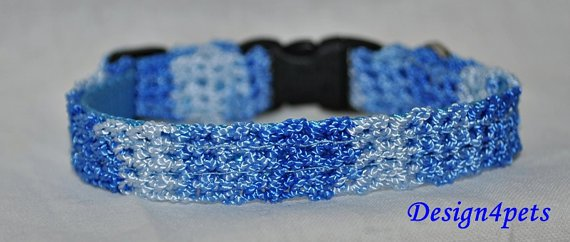 Shadow- Unique handmade blue crochet Cat collar - breakaway adjustable safety cat collar