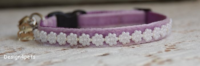 Pearl- Unique handmade breakaway cat collar - lavender velvet cat collar