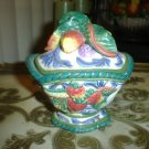 Vtg FITZ & FLOYD Lidded Bowl w/ Fruit Motif