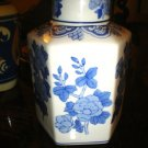 VINTAGE TEA CADDY BLUE & WHITE POTTERY Marked piece