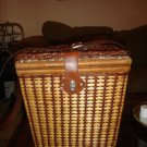 VINTAGE PICNIC BASKET  WICKER BASKET WITH LEATHER SHOULDER STRAP