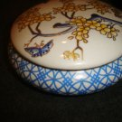 Asian Oriental Trinket Dish blue & white w gold accents