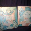 Set of Artwork Paintings by Well Known Artist Frank Walcutt King & Lady