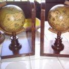Italian Vintage Wooden Globe Bookends