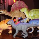 1990's early 2000's Set of Plastic Toy Dinosaurs 6 pieces Total