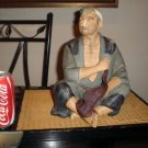 Vintage 1950&#39;s Fisherman Japanese Ceramic  Large Hakata Urasaki Figurine