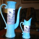 Vintage Rare Italian Pottery Sica Seto Fior Cafe Pitcher & Creamer Pitcher