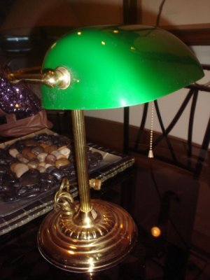 Vintage Beautiful Brass  Bankers Lamp with Green Glass Shade