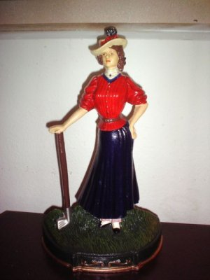 "Vintage Cast Iron Upper Deck Lady Golfer Door Stopper or Display Piece 16"" Tall"