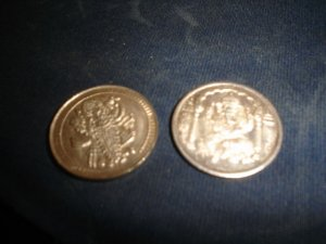 Set of Coins Pure Silver .999  buddhism India Ganesh &amp; Lakshmi?