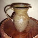 Vintage Pottery Pitcher Burlap Design Multi Greens