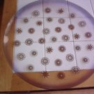 Vintage Retro Large Glass Platter with Gold & Silver Design